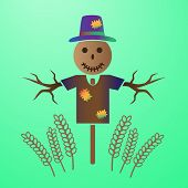 picture of scarecrow  - color vector scarecrow in the field of grain eps10 - JPG
