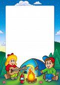Постер, плакат: Рамка с кемпинга дети