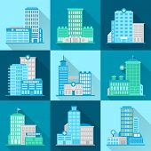 picture of structure  - Medical building healthcare urban structure modern hospital flat icons set isolated vector illustration - JPG