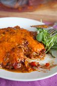 foto of enchiladas  - Delicious plate of stacked enchiladas fresh from the oven - JPG