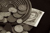 picture of shilling  - A selection of old Australian coins and a two dollar note - JPG