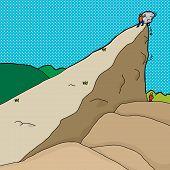 stock photo of gullible  - Man pushing boulder from cliff onto man below - JPG