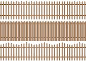 image of wooden fence  - a set of three different wooden picket fence on white background - JPG