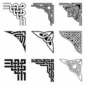 stock photo of celtic  - set of ornamental corners in celtic style - JPG