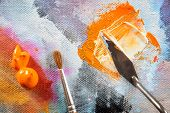 foto of putty  - Professional acrylics paints with artistic putty knife and brush on canvas - JPG