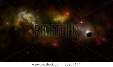 Deep Space Multicolor Star Field