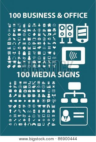 200 business, office, media, application icons, signs, illustrations design concept set for appliciation, website, vector on white background