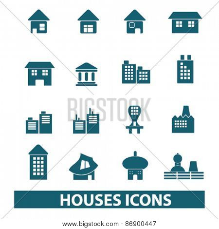 houses, buildings icons, signs, illustrations design concept set for appliciation, website, vector on white background
