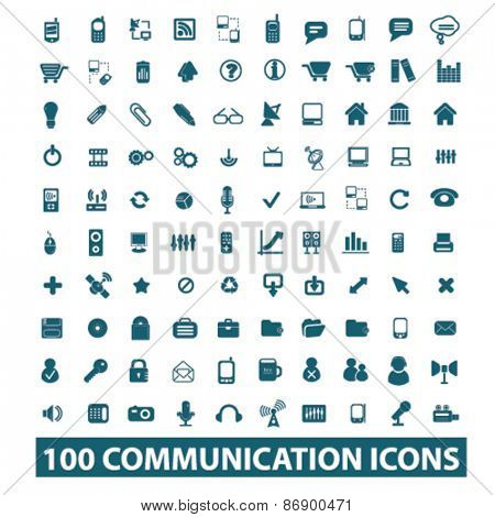 100 communication, connection icons, signs, illustrations design concept set for appliciation, website, vector on white background