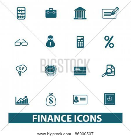 finance, bank, money icons, signs, illustrations design concept set for appliciation, website, vector on white background