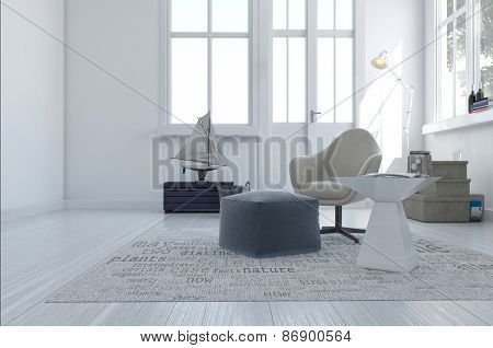 3d render of a minimalist modern living area with a comfortable armchair and pouffe in a white room with a large window and exterior door. 3d Rendering