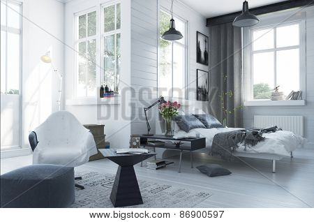 Large spacious modern bedroom interior with grey and white decor, a double divan bed, comfortable seating and numerous windows. 3d Rendering