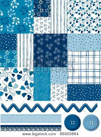 Cool Blue Patchwork square pattern and Icons.  Use as fills, wallpaper, digital paper or print off onto fabric to create unique home furnishings.