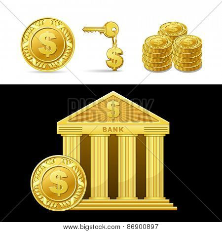 icon golden bank with money isolated