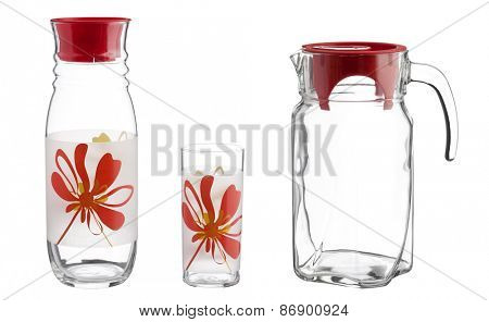 Glass jug with an empty glass, kitchen set, isolated on white