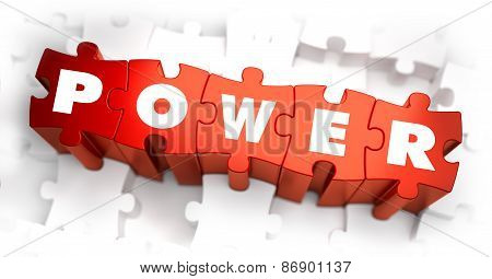 Power - Text on Red Puzzles with White Background.