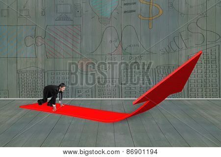 Businessman Ready To Run On Arrow Sign With Doodles Wall