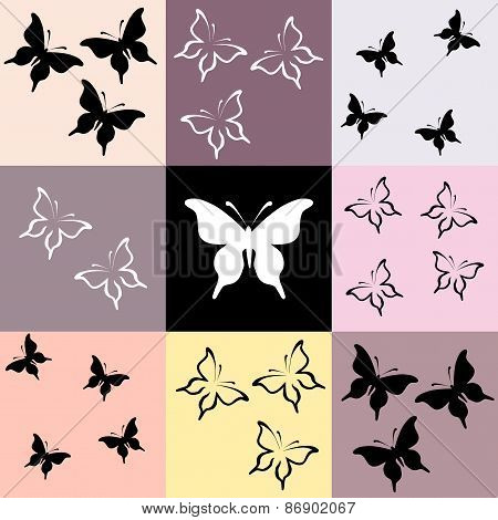 Seamless Colored Mosaic With Butterfly
