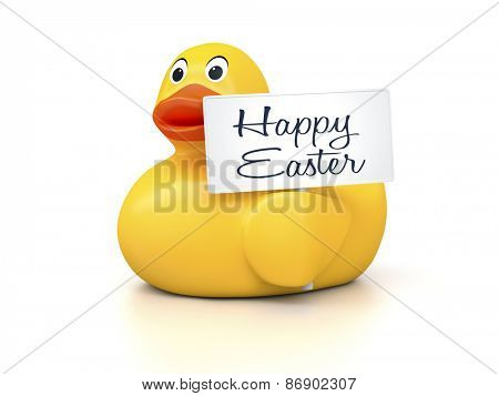 An image of a nice rubber duck with text happy easter