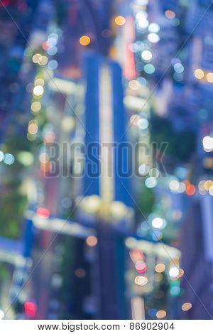 Out-of-focus top of Bangkok sky train, Thailand