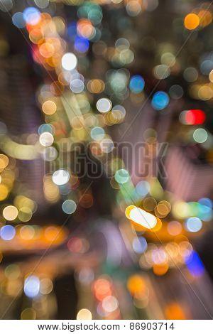 Blur image of Bangkok business center night lights
