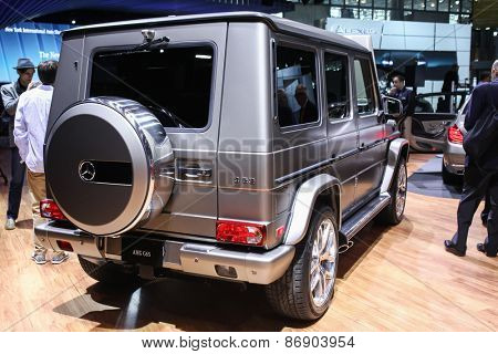 NEW YORK - APRIL 1: Mercedes Benz exhibit  G-65  at the 2015 New York International Auto Show during Press day,  public show is running from April 3-12, 2015 in New York, NY.