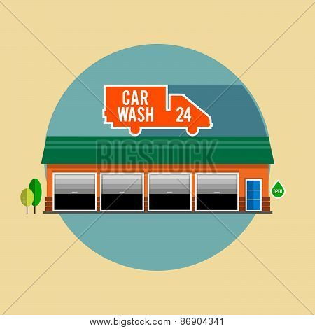 Car Wash With A Green Roof For Passenger Cars, The Facade Of The Building. Flat Style Illustrations