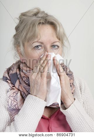 Cold Elderly Woman