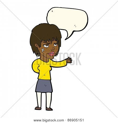 cartoon woman with sticking plaster on face with speech bubble