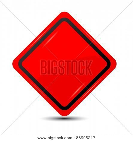 Blank red traffic road sign. Vector
