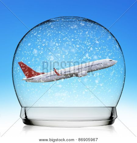 Plane flying In A Snowball