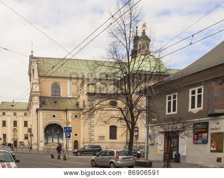KRAKOW, POLAND - March 29, 2015: The Carmelite Church In Krakow, Poland