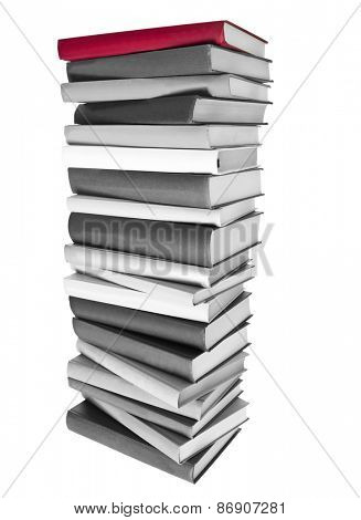 Pile of Black and white Books and a red book on top isolated on white background