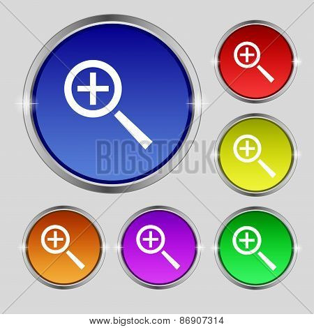 Magnifier Glass, Zoom Tool Icon Sign. Round Symbol On Bright Colourful Buttons. Vector