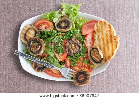Grilled Mushroom Salad With Toasted Bread