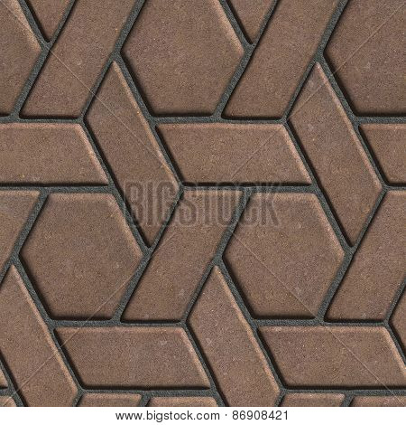 Brown Paving Slabs Built of parallelograms and hexagons.