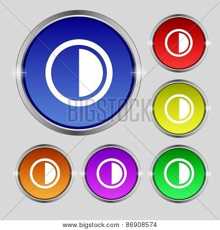 Contrast Icon Sign. Round Symbol On Bright Colourful Buttons. Vector