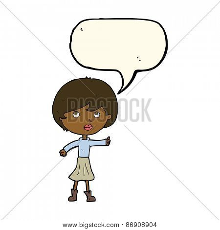 cartoon woman asking question with speech bubble