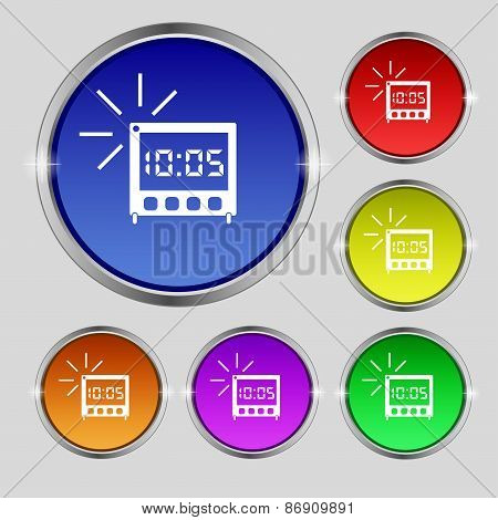 Digital Alarm Clock Icon Sign. Round Symbol On Bright Colourful Buttons. Vector