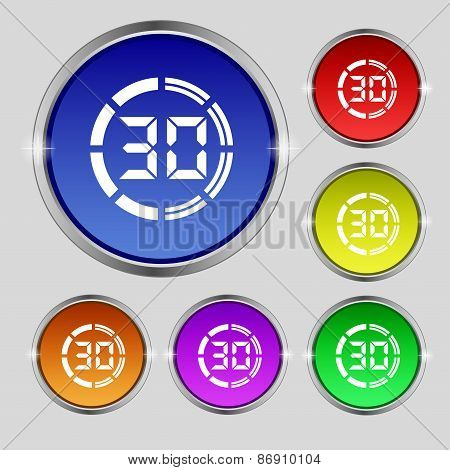 30 Second Stopwatch Icon Sign. Round Symbol On Bright Colourful Buttons. Vector