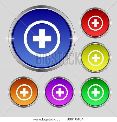 Plus, Positive, Zoom Icon Sign. Round Symbol On Bright Colourful Buttons. Vector