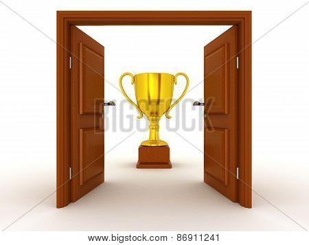 3D Door and Gold Trophy