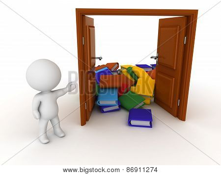 3D Character shows open door and pile of books