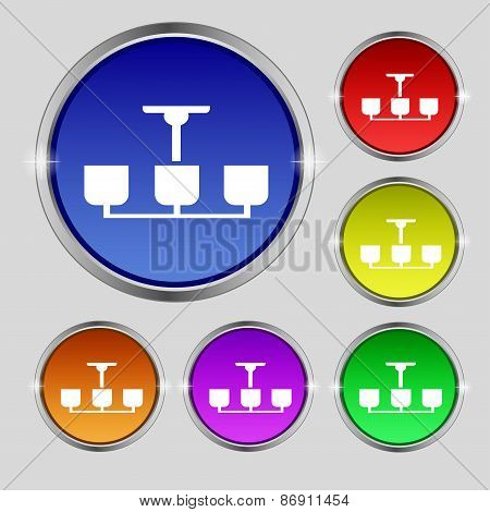 Chandelier Light Lamp Icon Sign. Round Symbol On Bright Colourful Buttons. Vector