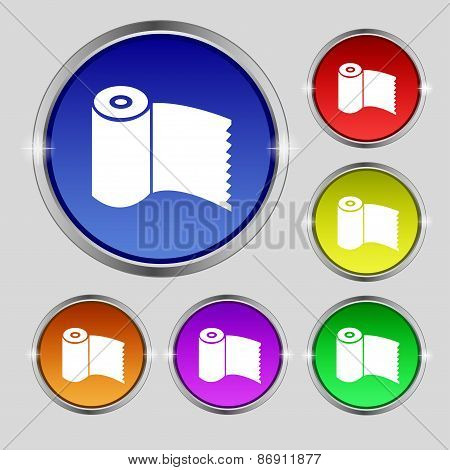 Toilet Paper, Wc Roll Icon Sign. Round Symbol On Bright Colourful Buttons. Vector