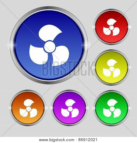 Fans, Propeller Icon Sign. Round Symbol On Bright Colourful Buttons. Vector