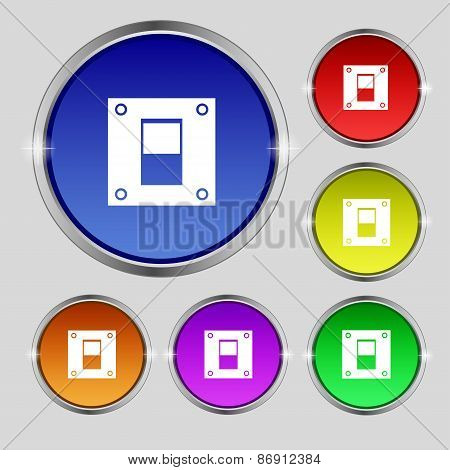 Power Switch Icon Sign. Round Symbol On Bright Colourful Buttons. Vector