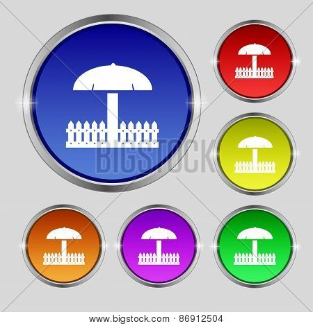 Sandbox Icon Sign. Round Symbol On Bright Colourful Buttons. Vector