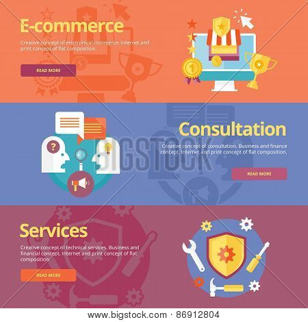 Set of flat design concepts for business e-commerce, consultation, services. Concepts for web banner