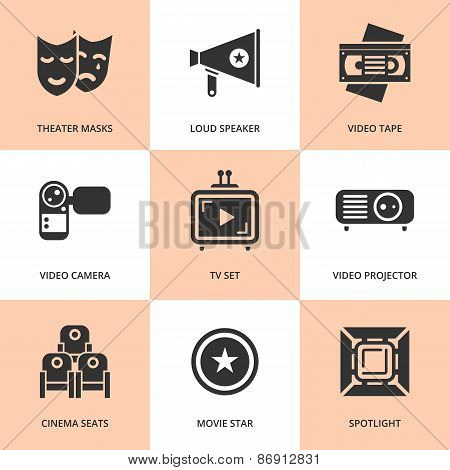 Set of black cinema movie icons. Vector cinema stuff in flat style.